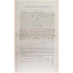 """Property Deed Signed by Marcus Daly, Montana """"Copper King"""""""
