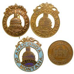 1894 Anaconda Badges & Token for Capitol Campaign
