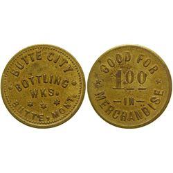 Butte City Bottling Works Token ($1) (Butte, Montana)