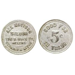 All Nations Saloon Token (5c) (Helena, Montana)
