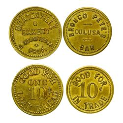 Bronco Pete's Colusa Bar & Meaderville Bakery Tokens (Meaderville, Montana)