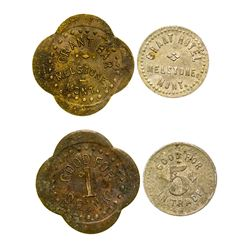 Grant Hotel and Bar Tokens (Melstone, Montana)