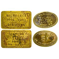Milwaukee Pool Hall Tokens (Ringling, Montana)