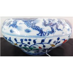 Flow Blue Chinese Bowl