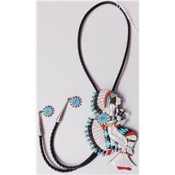 Zuni Dancer Sterling Silver & Multi-Stone Bolo Tie