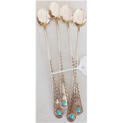 Four Sterling Silver Navajo Spoons