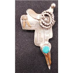Unusual Sterling Silver & Turquoise Saddle Pin