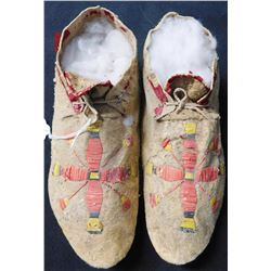 Quilled Pair of Deerskin Moccasins