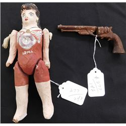 Mexican Doll & Carved Wood Pistol