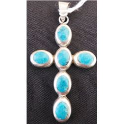 Turquoise & Sterling Silver Cross Pendant
