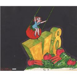 Original Production Cel & Background of Miss Wow for a V8 Commercial (Bill Melendez Studios, 1960s)