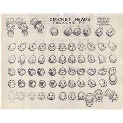 Vintage Joe Grant Model Sheet of Jiminy Cricket from Pinocchio (Disney, 1940)
