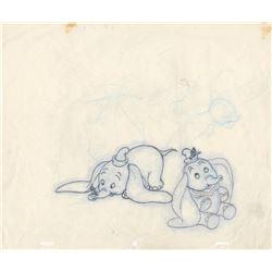 Original Model Drawing of Dumbo and Timothy (Disney, 1950s)