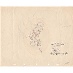 Original Ward Kimball Signed Production Drawing of Jiminy Cricket from Pinocchio (Disney, 1955)