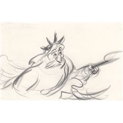 Rare Original Storyboard Drawing of King Triton from The Little Mermaid (Disney, 1989)