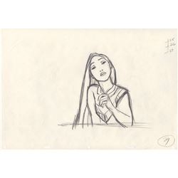 Original Mike Cedeno Production Drawing of Pocahontas from Pocahontas (Disney, 1995)