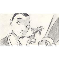 Original Mulan & Mushu Production Concept Drawing from Mulan (Disney, 1998)