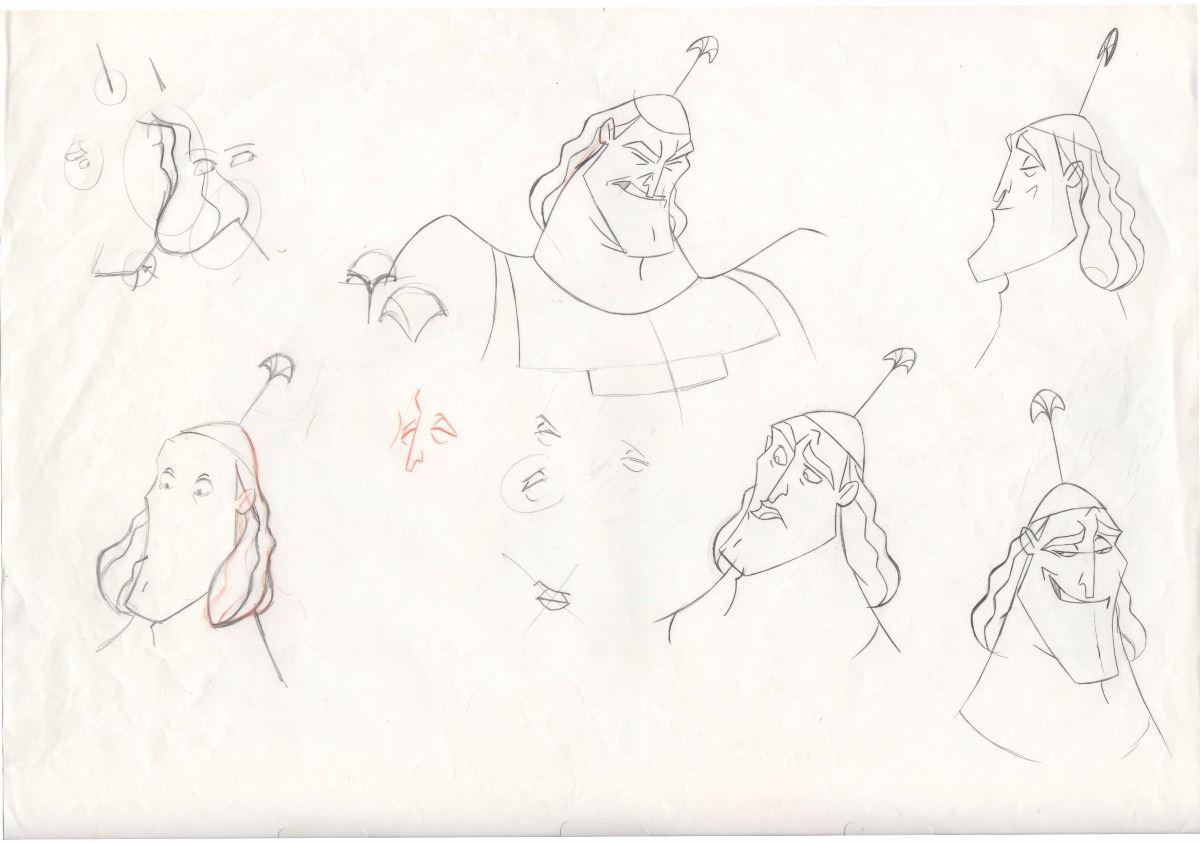 Original Animators Model Sheet of Kronk from Emperor's New Groove