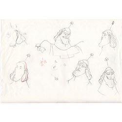 Original Animators Model Sheet of Kronk from Emperor's New Groove (Disney, 2000)