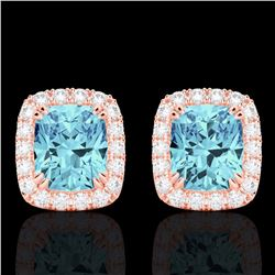Natural 2.50 CTW Sky Blue Topaz & Micro Diamond Certified Halo Earrings 10K Rose Gold - 22873-REF#-3