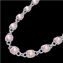 Natural 49 CTW Morganite & Micro Diamond Certified Eternity Necklace 14K White Gold - 23046-REF#-115