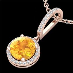 Natural 2 CTW Citrine & Micro Pave Diamond Necklace Designer Halo 14K Rose Gold - 23193-REF#-35T2K