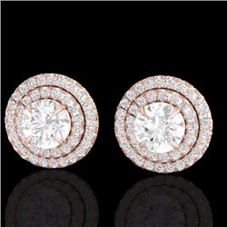 Natural 2 CTW Micro Pave Diamond Certified Stud Earrings Double Halo 14K Rose Gold - 21469-REF#-192R