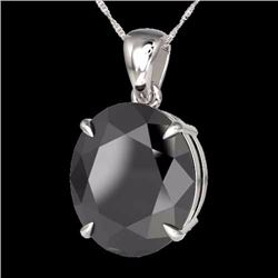 Natural 9 CTW Black Diamond Certified Designer Solitaire Necklace 18K White Gold - 21895-REF#-165S5V