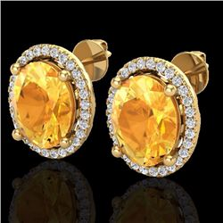 Natural 5 CTW Citrine & Micro Pave Diamond Certified Earrings Halo 18K Yellow Gold - 21052-REF#-67N8