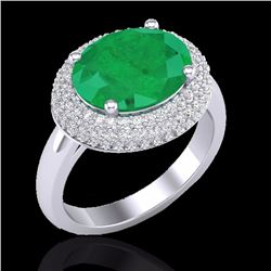 Natural 4.50 CTW Emerald & Micro Pave Diamond Certified Ring 18K White Gold - 20913-REF#-99S6V