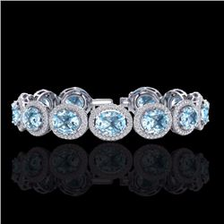 Natural 22 CTW Sky Blue Topaz & Micro Pave Diamond Certified Bracelet 10K White Gold - 22699-REF#-25
