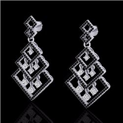 Natural 3 CTW Micro Pave Black & White Diamond Certified Earrings 14K White Gold - 22487-REF#-239T9K