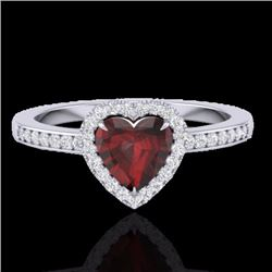Natural 1.20 CTW Garnet & Micro Diamond Certified Ring Heart Halo IN 14K White Gold - 21406-REF#-29F