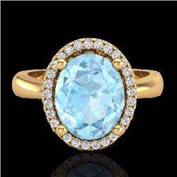 Natural 2.50 CTW Aquamarine & Micro Pave Diamond Certified Ring Halo 18K Yellow Gold - 21096-REF#-57