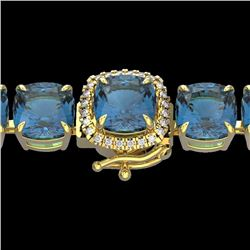 Natural 35 CTW London Blue Topaz & Micro Diamond Halo Bracelet 14K Yellow Gold - 23332-REF#-156G2M