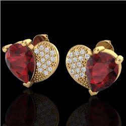Natural 2.50 CTW Garnet & Micro Pave Diamond Certified Earrings 10K Yellow Gold - 20076-REF#-30F6N