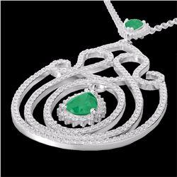 Natural 3.20 CTW Emerald & Micro Pave Diamond Heart Designer Necklace 14K White Gold - 22437-REF#-15