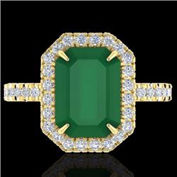 Natural 5.33 CTW Emerald & Micro Pave Diamond Certified Halo Ring 18K Yellow Gold - 21426-REF#-74T6K
