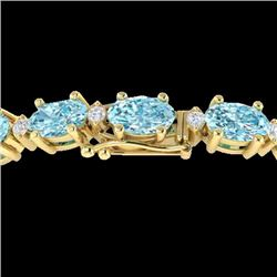 Natural 14 CTW Sky Blue Topaz & Diamond Certified Eternity Bracelet 10K Yellow Gold - 21444-REF#-65K