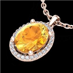 Natural 2.50 CTW Citrine & Micro Pave Diamond Certified Necklace Halo 14K Rose Gold - 21075-REF#-40H
