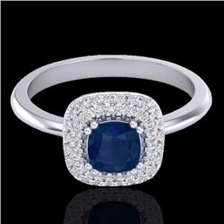 Natural 1.16 CTW Sapphire & Micro Diamond Ring Solitaire Double Halo 18K White Gold - 21035-REF#-80T