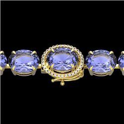 Natural 49 CTW Tanzanite & Micro Diamond Halo Designer Bracelet 14K Yellow Gold - 22281-REF#-855W9G