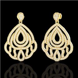 Natural 3 CTW Micro Pave Diamond Certified Earrings Designer IN 18K Yellow Gold - 21148-REF#-269W7G