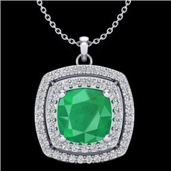 Natural 1.50 CTW Emerald & Micro Pave Diamond Certified Halo Necklace 18K White Gold - 20454-REF#-68