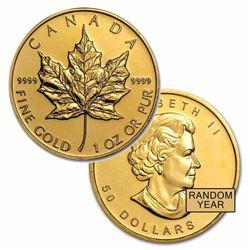 Brilliant Uncirculated 1oz Gold Canada Maple Leaf - Random date