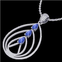 Natural 2 CTW Tanzanite & Micro Diamond Certified Designer Necklace 18K White Gold - 22473-REF#-132X