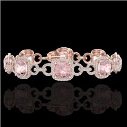 Natural 22 CTW Morganite & Micro Diamond Certified Bracelet 14K Rose Gold - 23027-REF#-519Z3T