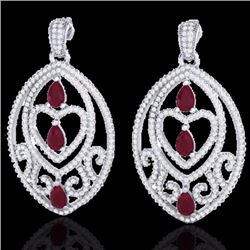 Natural 7 CTW Ruby & Micro Pave Diamond Heart Earrings Designer IN 18K White Gold - 21158-REF#-297W6