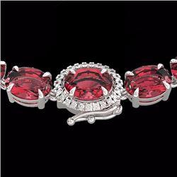Natural 66 CTW Pink Tourmaline & Diamond Tennis Micro Halo Necklace 14K White Gold - 23472-REF#-556K