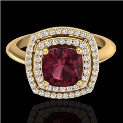 Natural 1.50 CTW Garnet & Micro Diamond Certified Pave Halo Ring 18K Yellow Gold - 20763-REF#-83Y4Z